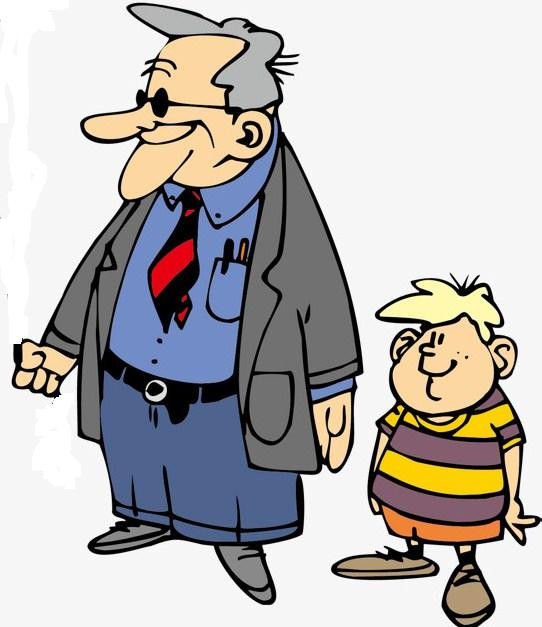 Pngtree cartoon characters grandpa walk with grandson png clipart 3409585